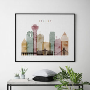Dallas skyline poster watercolor 1 landscape second