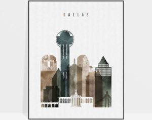 Dallas skyline print watercolor 2