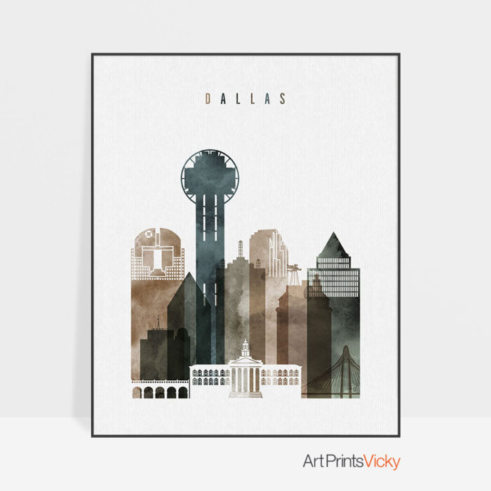 Dallas skyline print watercolor 2