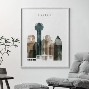 Dallas skyline print watercolor 2 second