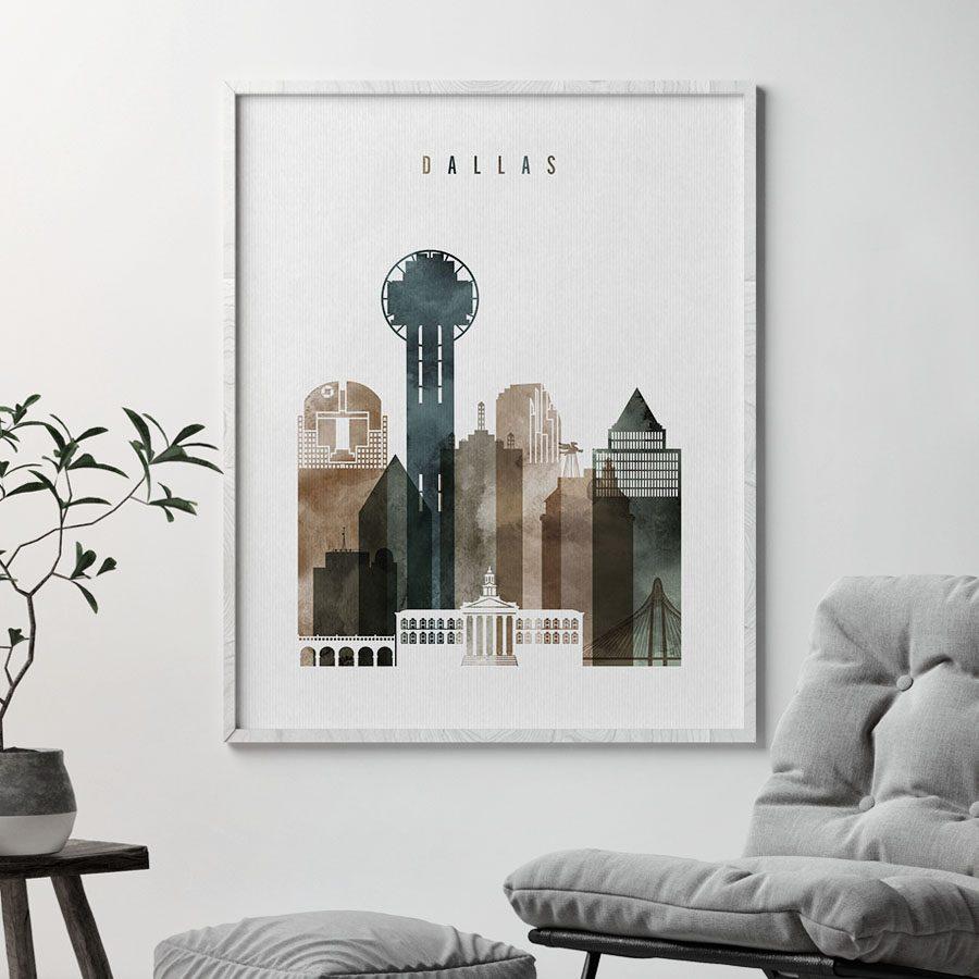 Dallas skyline print watercolor 2 second