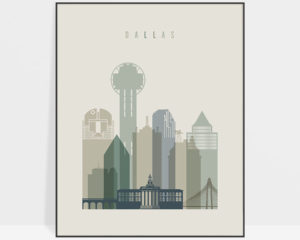 Dallas print skyline earth tones 1