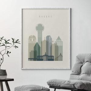 Dallas print skyline earth tones 1 second