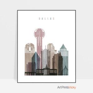 Dallas skyline poster distressed 1