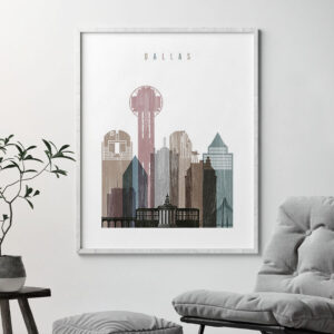 Dallas skyline poster distressed 1 second