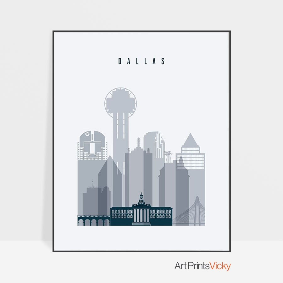 Dallas skyline poster grey blue