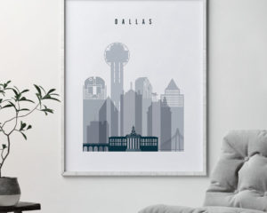 Dallas skyline poster grey blue second