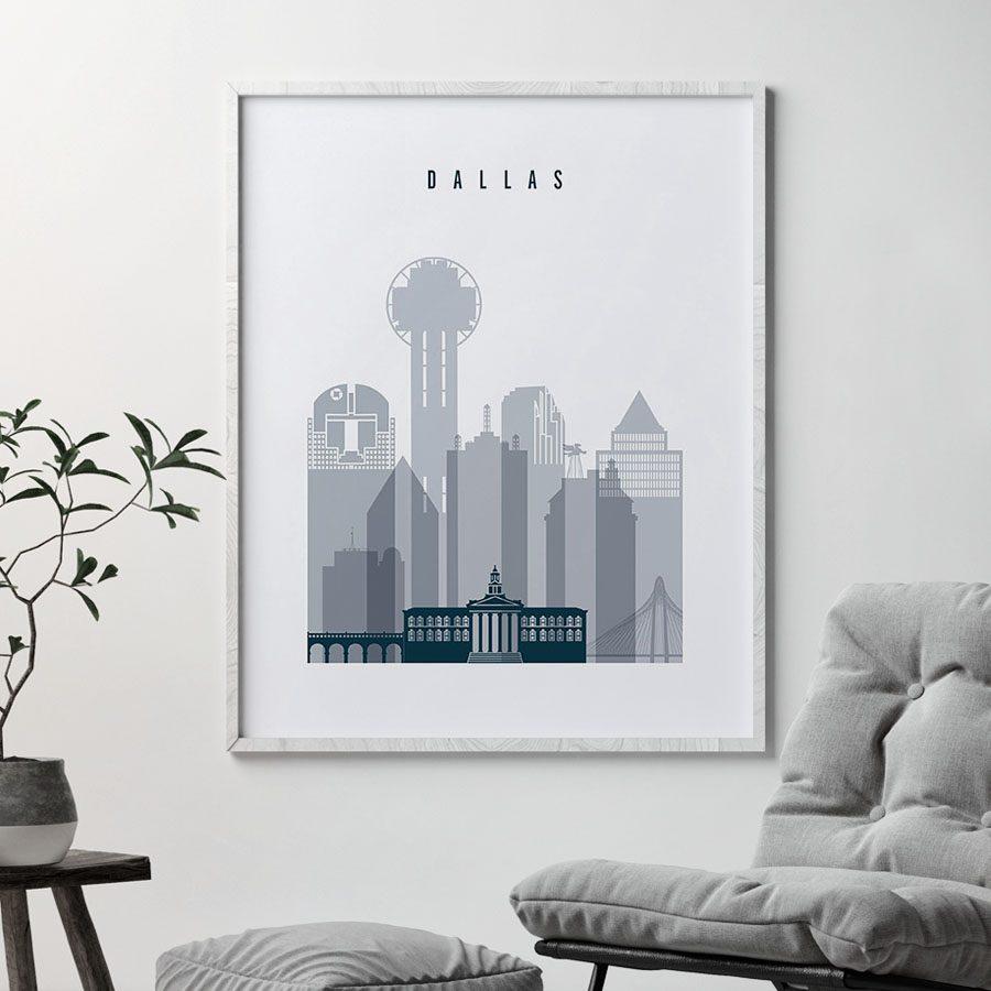 Dallas skyline poster grey blue second