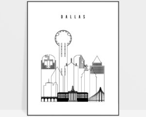 Dallas black and white art print