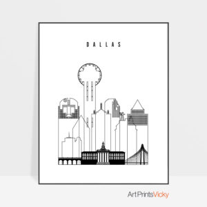 Dallas black and white art print
