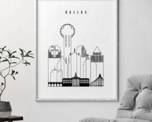 Dallas black and white art print second