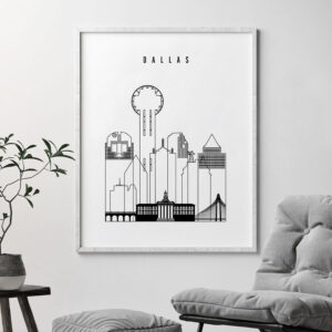 Dallas black and white art print second