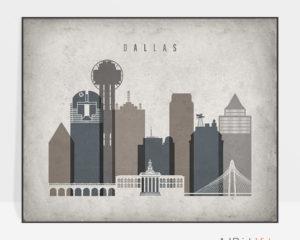 Dallas art print landscape retro