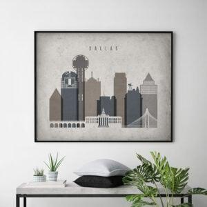 Dallas art print landscape retro second