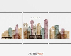 Dallas watercolor 1 skyline set of 3 prints