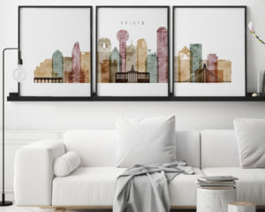 Dallas watercolor 1 skyline set of 3 prints second