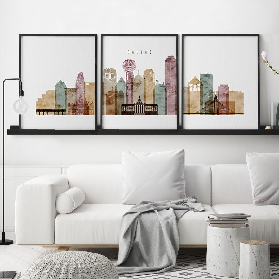 Dallas watercolor 1 skyline set of 3 prints second
