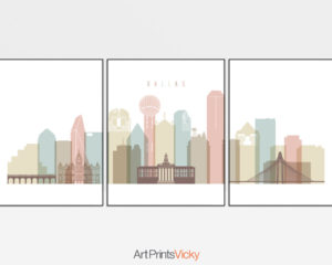 Dallas pastel white skyline set of 3 prints