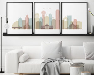 Dallas pastel white skyline set of 3 prints second