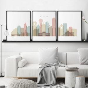 Dallas pastel white skyline set of 3 prints second
