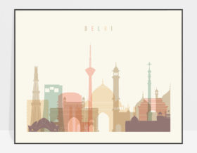 Delhi skyline art pastel cream landscape