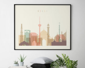 Delhi skyline art pastel cream landscape second