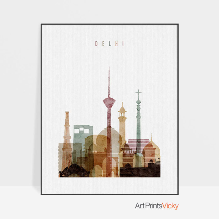 Delhi skyline poster watercolor 1