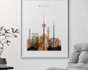 Delhi skyline poster watercolor 1 second