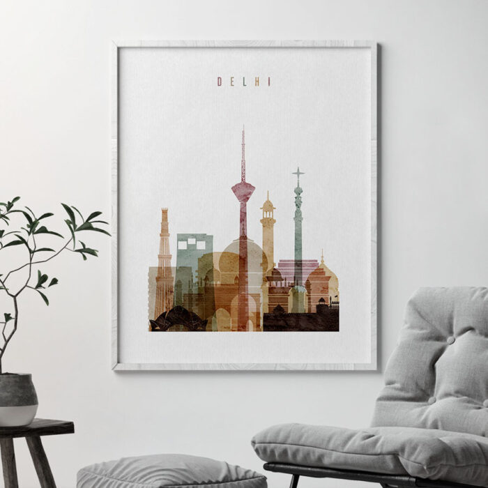 Delhi skyline poster watercolor 1 second