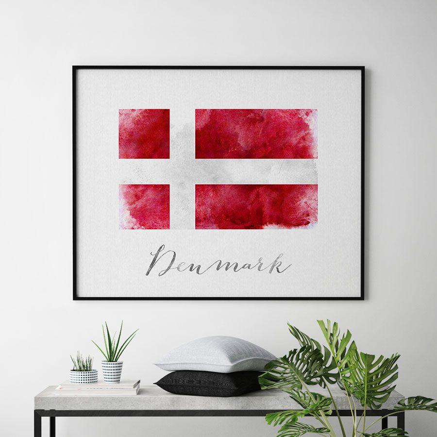 Denmark flag art print second