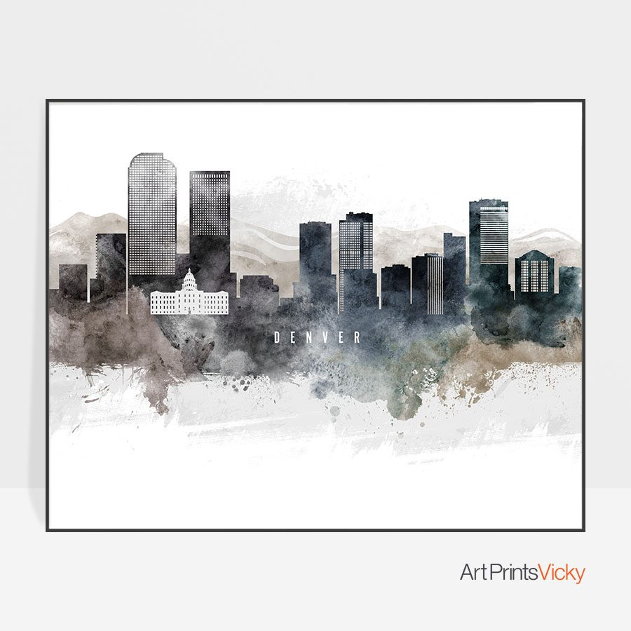 Denver art poster watercolor