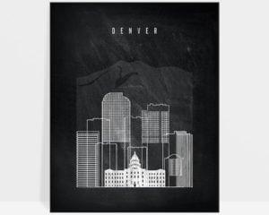 Denver chalkboard black white skyline print