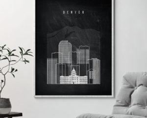 Denver chalkboard black white skyline print second
