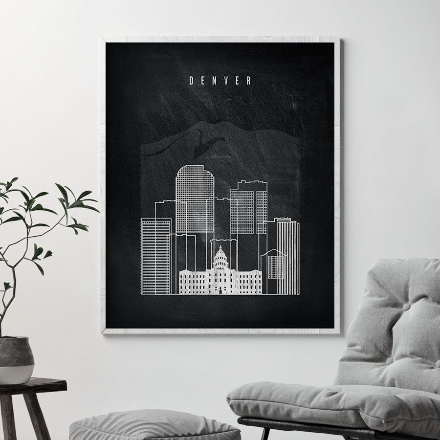 Denver chalkboard black white skyline print second