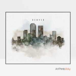 Denver cityscape print watercolor