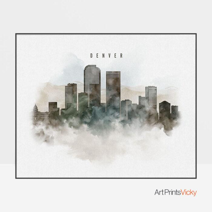 Denver cityscape print watercolor