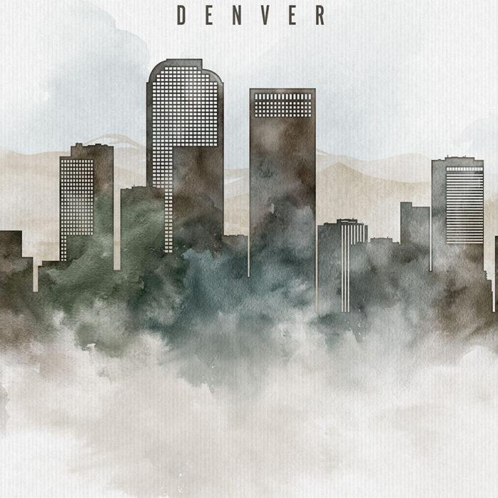 Denver cityscape print watercolor detail