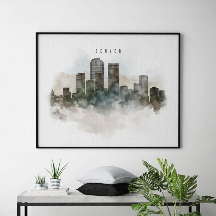 Denver cityscape print watercolor second