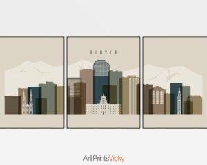 Denver earth tones 3 skyline set of 3 prints