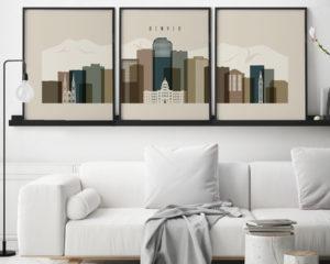 Denver earth tones 3 skyline set of 3 prints second