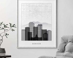 Denver map print poster black white second