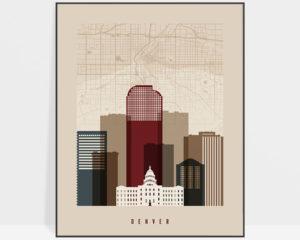 Denver map print poster earth tones 2