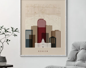 Denver map print poster earth tones 2 second