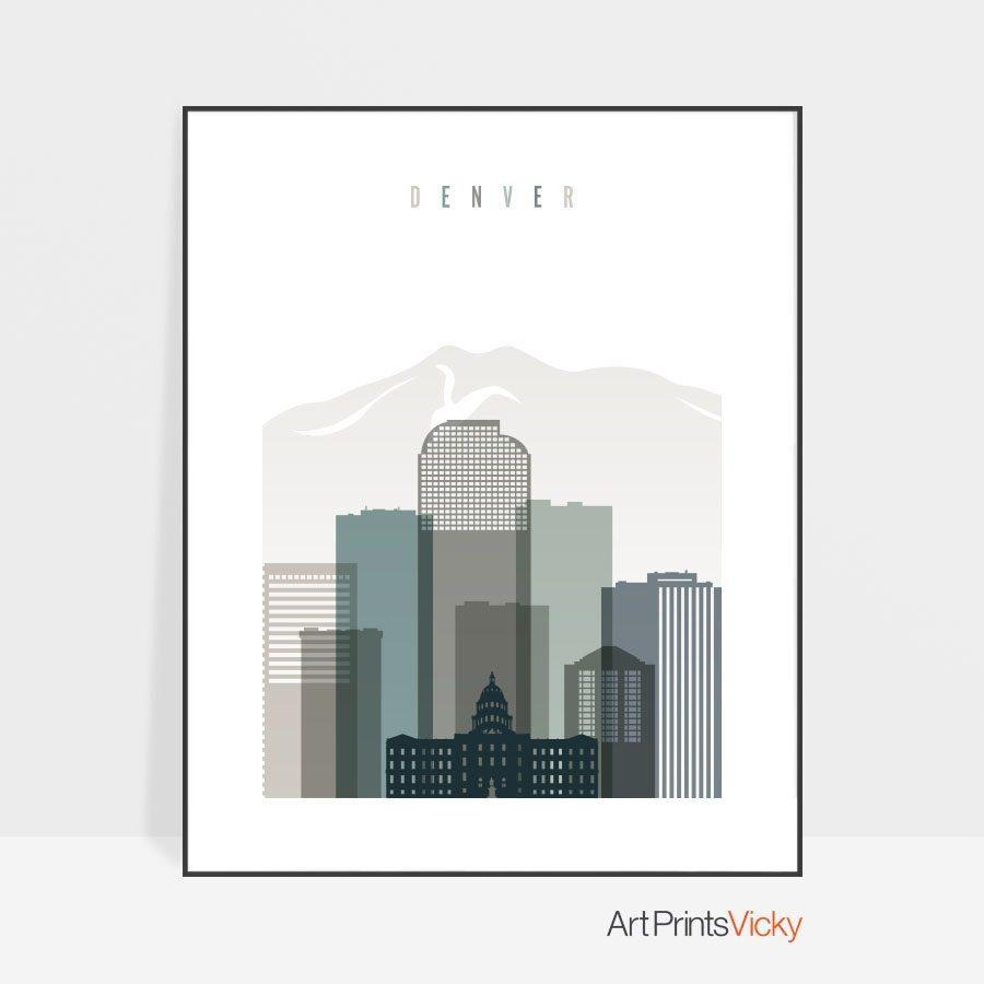 Denver art print skyline earth tones 4