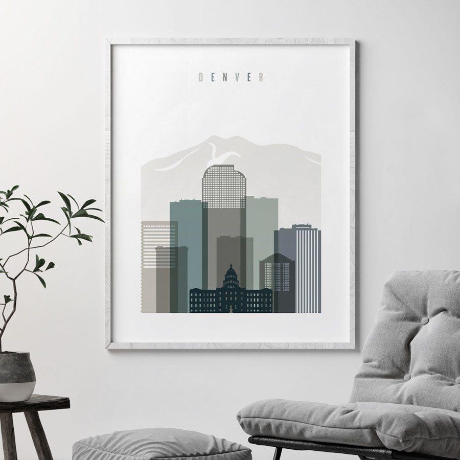 Denver art print skyline earth tones 4 second