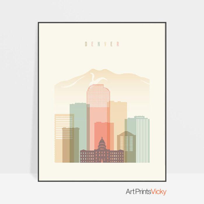 Denver poster pastel cream