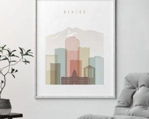 Denver wall art pastel white second