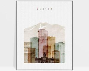 Denver skyline art watercolor 1