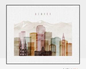 Denver wall art skyline watercolor 1 landscape