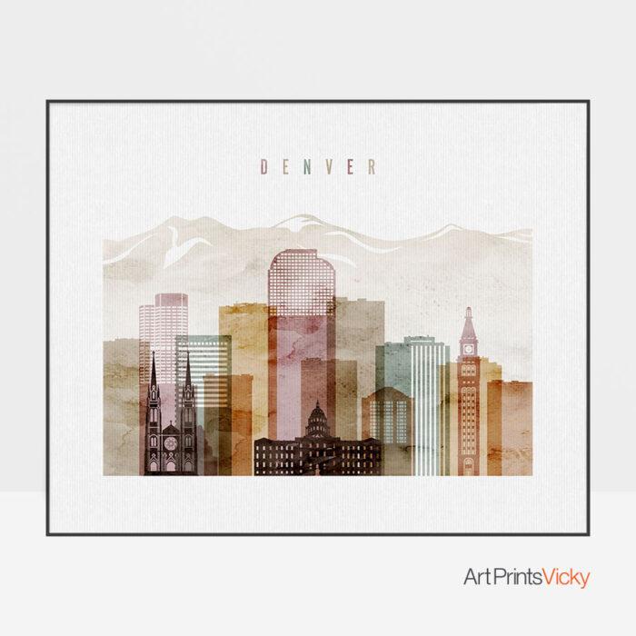 Denver City Print Watercolor 1 Landscape